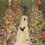 Gustav Klimt - Garden Path with Chickens, 1916, Burned at Schloss Immendorf in 1945 Digitálně vytištěná reprodukce