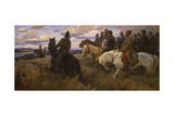 Russian Horsemen in the Steppe, 1957 Giclee Print by V.V. Schatalin