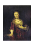 Saskia with a Red Flower, 1641 Giclee Print by  Rembrandt van Rijn