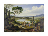 A View of the Tiber Near Rome, a Rural Feast, 1818 Giclee Print by Joseph Anton Koch