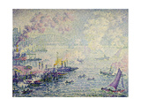 Boats in the Harbour Gicléetryck av Paul Signac