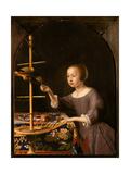 Girl Feeding a Parrot Giclee Print by Pieter Van Steenwyck