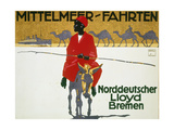 German Poster Advertising Cruises with Lloyd'S Giclée-tryk af Ludwig Hohlwein