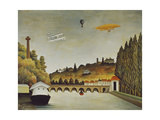 View of the Bridge at Sevres and the Hills at Clamart, St, Cloud, 1908 Giclee Print by Henri Rousseau