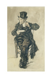 Man with a Top Hat Drinking a Cup of Coffee, 1882 ジクレープリント : フィンセント・ファン・ゴッホ