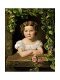 Little Girl at the Window Entwined with Vine Leaves Giclee Print by Ferdinand Georg Waldmüller