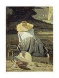 Washerwoman by the River, 1860 Giclee Print by Paul Cézanne