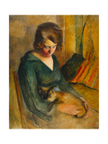 Seated Woman with a Cat on Her Knees (Femme Assise Avec Chat Sur Ses Genoux) Giclee Print by Roderick O'Connor
