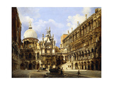 The Courtyard of the Doge's Palace, Venice, 1841 Giclee Print by Federico Moja