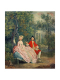 Conversation in a Park, Portrait of the Artist and His Wife, Margaret Burr, 1746 Giclee Print by Thomas Matthews Rooke