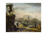 Roman Landscape with Shepherds Giclee Print by Jan Weenix