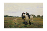 Time Off, Two Riders and Dogs, 1882 Giclee Print by Nikolaj Kusnezow