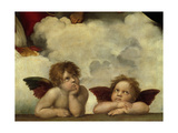 Putti, Detail from the Sistine Madonna Giclée-tryk af  Raffael