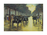 Berlin Street Scene with Cars in the Evening Giclee Print by Lesser Ury