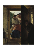 Lovers Espied by an Old Woman, (The Kiss) Giclee Print by Ferdinand Georg Waldmüller