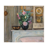 Vase of Flowers and a Clock on a Mantlepiece, C. 1920 Giclee Print by Henri Lebasque