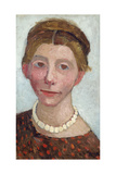 Self-Portrait with White Pearl Necklace, 1906 Giclee Print by Paula Modersohn-Becker