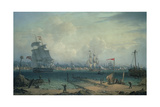 View of Liverpool, from Cheshire Giclee Print by Robert Salmon