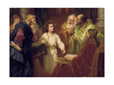 Christ Standing in the Temple Discussing the Scriptures with Five Robed Elders Giclée-tryk