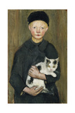 Boy with Cat Lámina giclée por Paula Modersohn-Becker