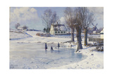 Sledging on a Frozen Pond Giclee Print by Peder Moensted