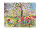 Tulips under Blossoming Appletree, 1991 Giclee Print by Eva Fischer-Keller