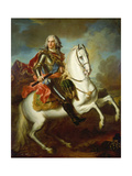 King Augustus II, (The Strong) of Poland Mounted on a Horse, C. 1718 Giclee Print by Louis Silvestre