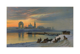 Winter in Irkutsk at the Angara, 1886 Giclee Print by Nikolay Fjodorow Dobrovolsky