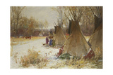Indian Camp in the Snow Giclee Print by Joseph Henry Sharp