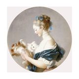 Girl Playing with a Dog and a Cat (Said to Be Marie-Madeline Colombe) Giclée-Druck von Jean-Honoré Fragonard