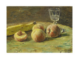 Still Life with Peaches and Wine Glass, Ca, 1890 Gicléetryck av Orneore Metelli