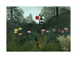 Virgin Forest with Setting Sun, C. 1910 Giclée-tryk af Henri Rousseau