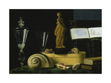 Still-Life with Statue, Books and Shells Giclee Print by Sebastian Stosskopf