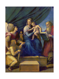 The Madonna of the Fish (The Madonna with the Archangel Raphael, Tobias and St, Jerome), C. 1513 Giclée-Druck von  Raffael
