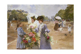 Flower Girl at the Avenue Du Bois De Boulogne, 1902 Giclee Print by Louis Marie De Schryver