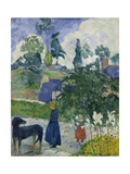 Entre Les Lys, Breton Landscape with Dog and Children, 1889 Giclee Print by Paul Gauguin