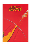 A Poster Advertising the Ford V8 Engine, 1933 Giclee Print