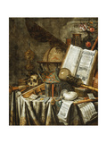 Vanitas Still Life with Musical Instruments, Books, and Other Things, 1663 Lámina giclée por Evert Collier