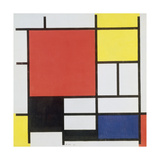 Composition with Red, Yellow, Blue and Black, 1921 Gicléedruk van Piet Mondrian