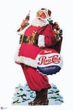 Pepsi - Santa with Bottle of Cola Cut Out 1953 Display Plastic Sign