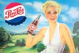 Pepsi - Girl in Green Meadow, 1951 Artwork Plastic Sign