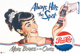 Pepsi - Always Hits the Spot 1950 Ad Plastic Sign