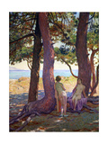 Two Female Nudes under Pine Trees Prints by Theo van Rysselberghe