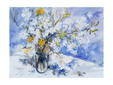 Wild Fruits and Forsythia Blossoms in Glass Vase, 2000 Giclee Print by Sybille Fischer-Bradford