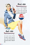 Pepsi - Vintage Pepsi Girl; 1950 Calendar: March and April Cartel de plástico