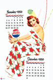 Pepsi - Vintage Pepsi Girl; 1950 Calendar: November and December Plastic Sign