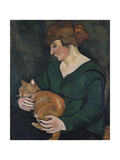 Woman with a Cat (Louson Et Raminow), 1920 Giclee Print by Suzanne Valadon