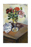 Bouquet of Roses in a Glass, 1926 Giclee Print by Suzanne Valadon