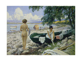 Bathng Girls on the Beach Giclee Print by Paul Fischer