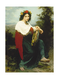 Italian Woman with Tambourine, 1872 Print by William Adolphe Bouguereau